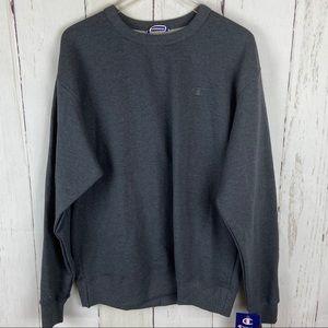 Champion   Dark Grey Solid Crewneck Sweatshirt